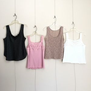 Other - Four Camisole Bundle Black Pink Nude White Lace